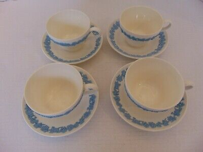 Wedgwood England Queensware Lavender On Cream Four Cups And Saucers