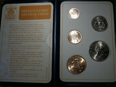 1971 Great Britain 5 Coin First Decimal Set - Very Nice LOOK