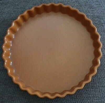 "Vintage / Retro Glazed Stoneware Flan/Quiche/Pie/Tart Tin Base Dish 9"" Ripple"