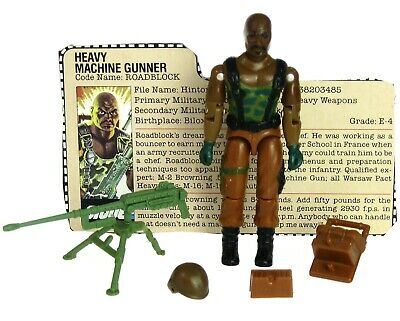 Vintage GI Joe ARAH Heavy Machine Gunner Roadblock 100% Complete w/File Card
