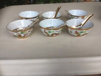 Preused 6 Red Dragon Porcelain Bowls and Spoons