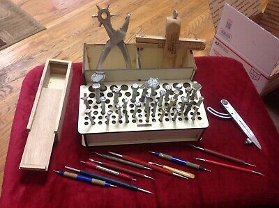 Lot A 30 Leather Craft Stamping Tools, Strap Cutter, Organizer Tray, Tools