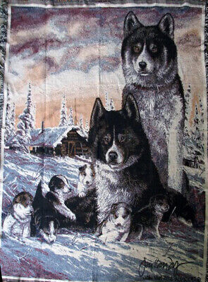 WOLVES DOGS Wolf Dog Malamute Husky Spitz Arctic 100% Cotton TAPESTRY THROW