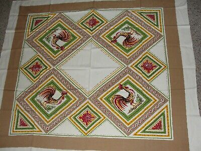 California Hand Prints fiesta color rooster tablecloth vintage