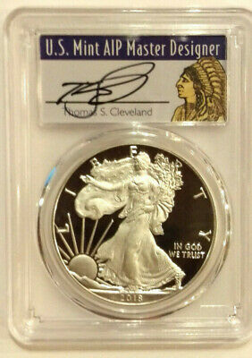 2018 W $1 American Proof Silver Eagle PCGS PR70DCAM Thomas Cleveland FS 1of1000