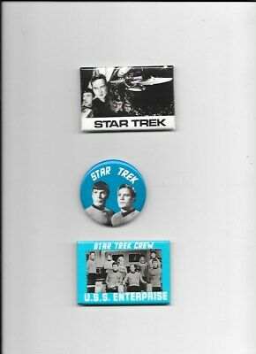 3 Original Star Trek Items 2 Mirrors-3 Inches And One Pinback-2.25 Inches