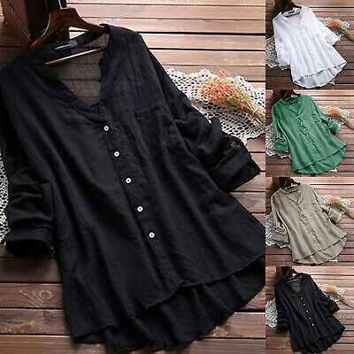 Womens Plus Size Long Sleeve Cotton Blend Blouse Ladies Casual Baggy Tunic Tops