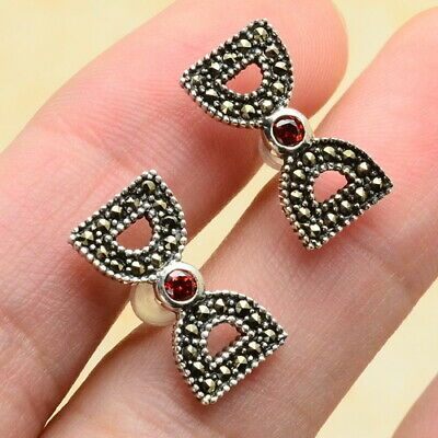 Bowknot Marcasite,Red Cz 100% Solid 925 Sterling Silver Stud Earrings 1/2""