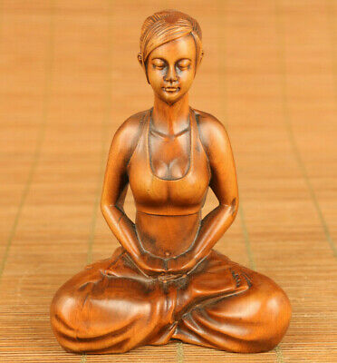Rare Chinese old boxwood hand carved yoga young girl statue netsuke decoration
