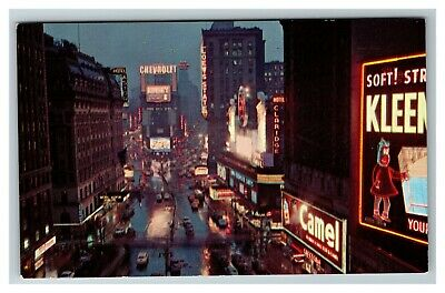 Times Sqaure at Night, New York City 1950's Camel, Chevrolet Chrome Postcard A9