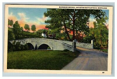 Burnside Bridge, Antietam Battlefield, Sharpsburg MD 1950's Linen Postcard A10