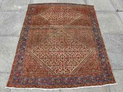 Fine Antique Traditional Hand Made Oriental Brown Blue Red Wool Rug 167x136cm