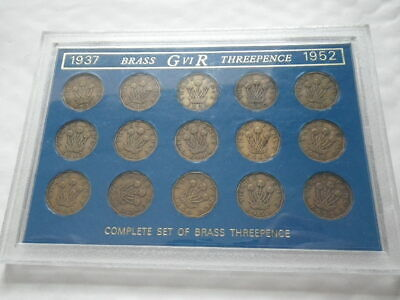 Great Britain George VI 1937 - 1952 Brass Threepence Set In Case