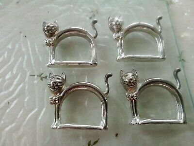 Vintage silver plated cat napkin rings holders x 4