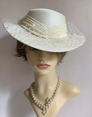 Vintage 1990s Hand Made Ivory Dress Hat Face Veil And Net  & Satin Ribbon & Bow