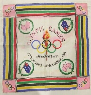 1956 Melbourne Olympic Games Handkerchief Souvenir with Olympic Torch