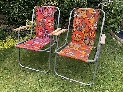 Pair Of Vintage Retro folding Deck Chairs Floral Canvas VW Camping Garden