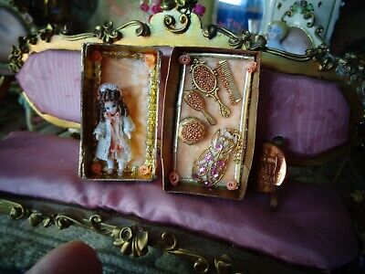 Tiny Miniature dollhouse dolls doll ~porcelain~ jointed~ 1 1/8""