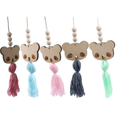 Nordic Style Bear Wooden Beads Tassels Hanging Children's Room Ornament YU