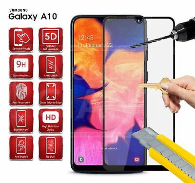 5D Tempered Glass Screen Protector in Black for Samsung Galaxy A10 (2019)