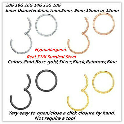 Hinged Septum Clicker Segment Nose Ring Lip Ear Cartilage Daith 20G 18G 16G 14G