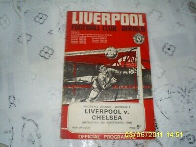 Rare Football Programme 1968 League Division 1 Game Anfield Liverpool V Chelsea