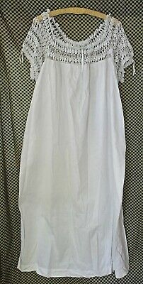 Nightgown white cotton vintage antique 20s 30s crochet wrapped thread one size