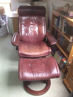 Stressless Red Recliner Chair And Footstool