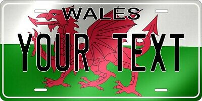 Wales Flag Wave License Plate Personalized Car Auto Bike Motorcycle Custom Tag