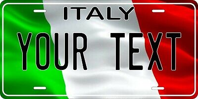 Italy Flag Wave License Plate Personalized Car Auto Bike Motorcycle Custom Tag