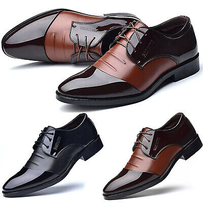Men Pointed Toe Wedding Business Party Patent Leather Formal Lace Up Dress Shoes