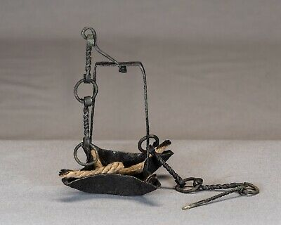 Antique Wrought Iron Pan Lamp on Twisted Link Chain (circa 1700's)