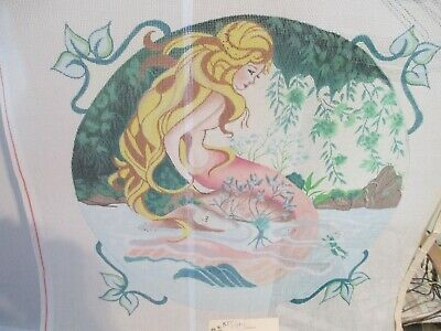 "Hand Painted Mermaid Needlepoint Canvas - 14"" X 14"""