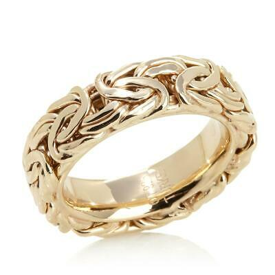 Technibond Framed Comfort Fit Byzantine Band Ring 14K Yellow Gold Clad Silver