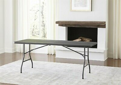 6 Portable Centerfold Folding Black Table Indoor Outdoor