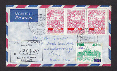 Peru Aereo Surcharge Stamps Registered Air Mail Cover to England