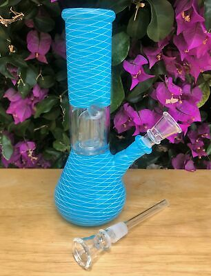 "Beaker 8"" Glass Hookah Dome Perc Bong Ice Catchers 2 Slide Downstems with Bowl"