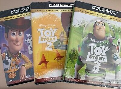 Toy Story Trilogy (4K Ultra HD +Blu-Ray + Digital Codes) 1 2 3 Pixar Disney New