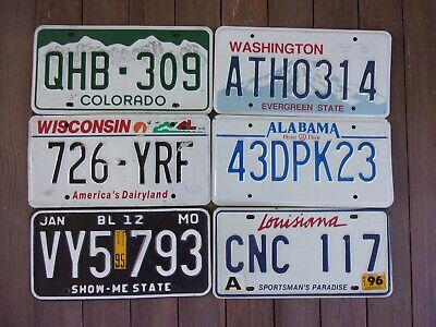 Lot of 6 Mixed State License Plate Tags MO, LA, WN, CO, WI, AL
