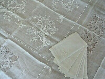 "Tree of Life Vtg. Organdy Lawn Bird Embroidered 51"" X 52"" Tablecloth 6 Napkins"
