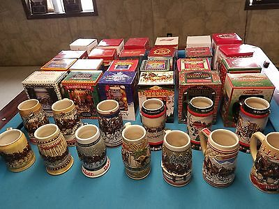 Budweiser bud Holiday Christmas Steins 1980-2018 FULL SET new in box   38 steins