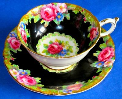Paragon Dramatic BLACK TAPESTRY ROSE Fine Bone China Cup & Saucer 1940s
