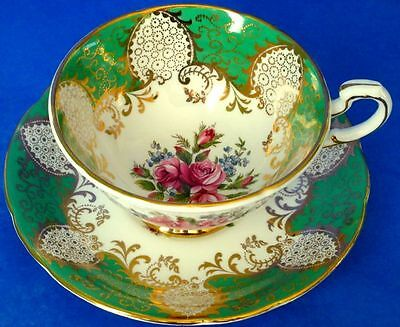 Paragon Fancy Green Rich Gold Pink Roses Forget-Me-Not Flowers Cup Saucer Set