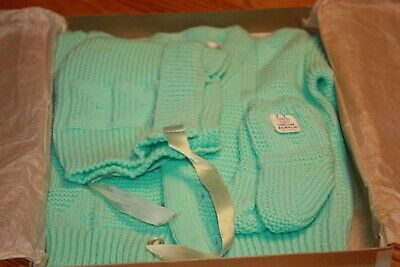 Vintage Royal Knitwear Infant Baby Sweater Set Mint Green Hat Booties New in Box