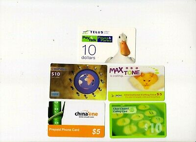 Canada, Prepaid Phone X 5 Cards For Local And International Use, All Used Fresh