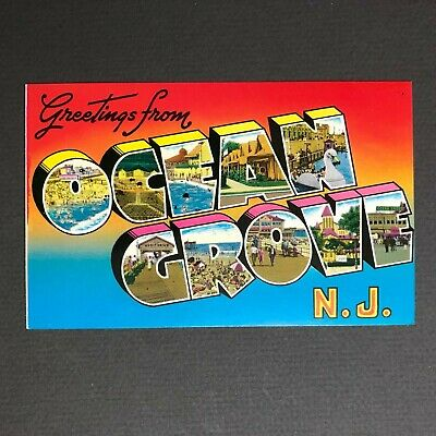 Greetings from Ocean Grove NJ New Jersey Large Letter Vintage Postcard