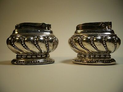 Antique Silverplate Ronson Crown Table Lighters
