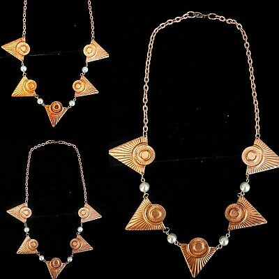 Vintage Patina 1930s Art Deco Egyptian Revival  Necklace Beautiful Design!