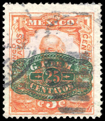 Scott # 580 - 1916 - ' Miguel Hidalgo ', Ovpt. Barril with Surcharge