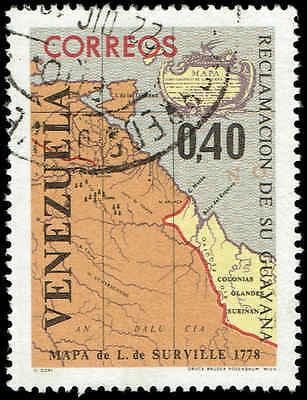 Scott # 888 - 1965 - ' Map of Venezuela and Guiana by Codazzi '